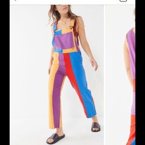Linen rainbow striped overalls